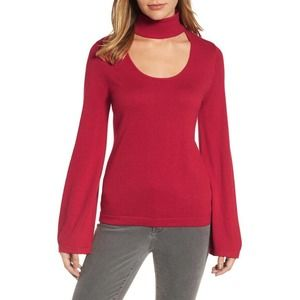 Vince Camuto sweater red bell sleeve choker neck